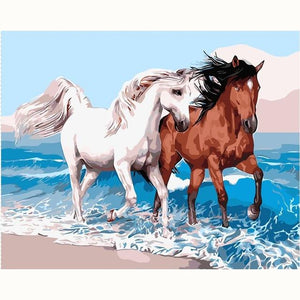 DIY Paint By Numbers Horse On The Beach Painting Kit Paint By Numbers Calming Paints