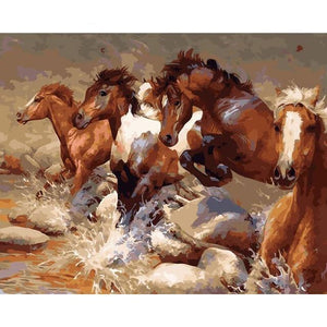 DIY Paint By Numbers Horses Running In The Stream Painting Kit Paint By Numbers thegiddyupstore