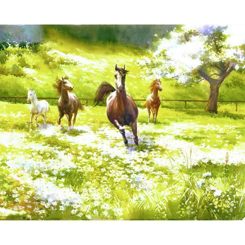 DIY Paint By Numbers Horses Running Through The Meadow Painting Kit Paint By Numbers thegiddyupstore