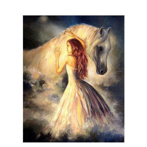 DIY Paint By Numbers Horse And Woman In White Painting Kit Paint By Numbers thegiddyupstore