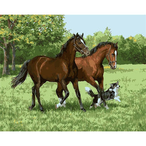 DIY Paint By Numbers Two Horses And A Puppy Painting Kit Paint By Numbers Calming Paints