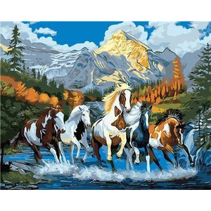 DIY Paint By Numbers Horses Running Through The Stream Painting Kit Paint By Numbers Calming Paints