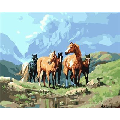 DIY Paint By Numbers Herd Of Horses By The Stream Painting Kit Paint By Numbers Calming Paints