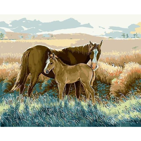 DIY Paint By Numbers Horse And Colt In The Grass Painting Kit Paint By Numbers Calming Paints