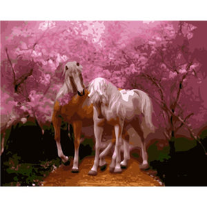 DIY Paint By Numbers Horses With Pink Tree Painting Kit Paint By Numbers Calming Paints