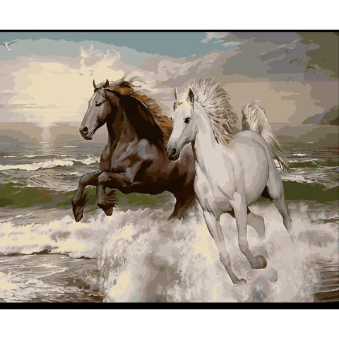 DIY Paint By Numbers Two Horses Running Through The Water Painting Kit Paint By Numbers Calming Paints