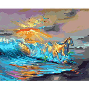 DIY Paint By Numbers Horse Coming Out Of The Waves Painting Kit Paint By Numbers Calming Paints