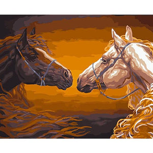DIY Paint By Numbers Two Horses Facing Each Other Painting Kit Paint By Numbers Calming Paints