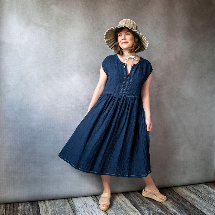 GiGi Indigo Linen Dress