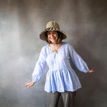 Florence Ice Blue Gingham Linen Top