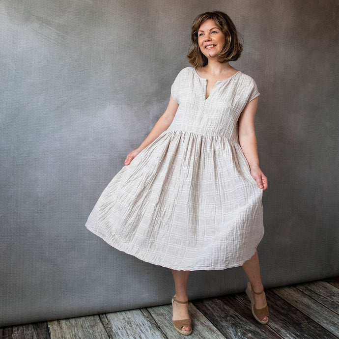 GiGi Oatmeal Check Linen Dress