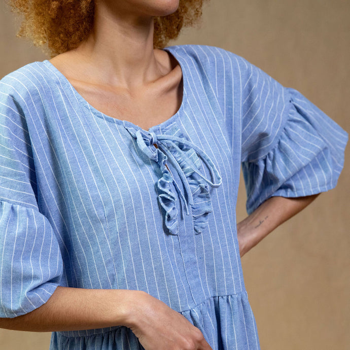 Hand Freyed Linen Scarf - Natural Gauze linen with Marigold hand stitched detail