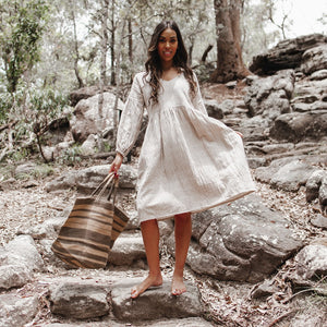 Hand Freyed Linen Scarf - Nickel crinkle linen with white hand stitched detail
