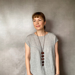 GiGi Dress - Dust Linen with Cocoa hand stitch detail
