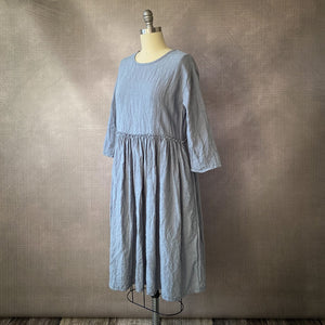 Freya Patchwork Shirt Dress - Natural Gauze Linen & Dark Flax Crinkle Linen 004