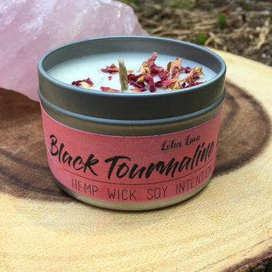 4 oz Black Tourmaline and Rose Soy Grounding Candle