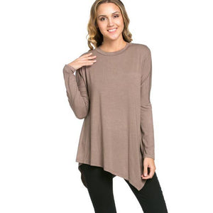 Asymmetric Crew Neck Long Sleeve Tunic