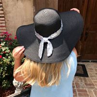 Floppy Beach Hat with Sparkle Ribbon Trim