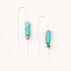 Rectangle Stone Thread Earring - Turquoise/Black/Silver
