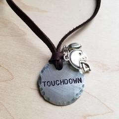 Hand Stamped Touchdown Pendant on Leather Necklace