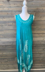 Embroidered 4-Point Fringe Maxi-Dress with Pineapples