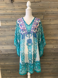 Chiffon Grecian Print Cover-Up with Bling