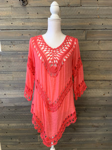 Crochet Top with 3/4 Sleeves