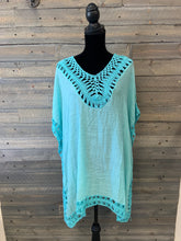 Crochet and Gauze Fabric Poncho Cover-up