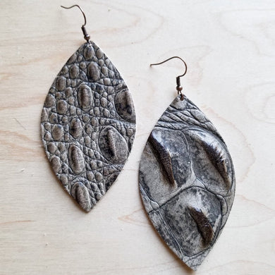Leather Teardrop Earrings-Brown and Gray Gator Small