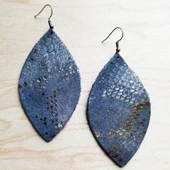 Leather Oval Earrings in Blue Leather Metallic Snake Print