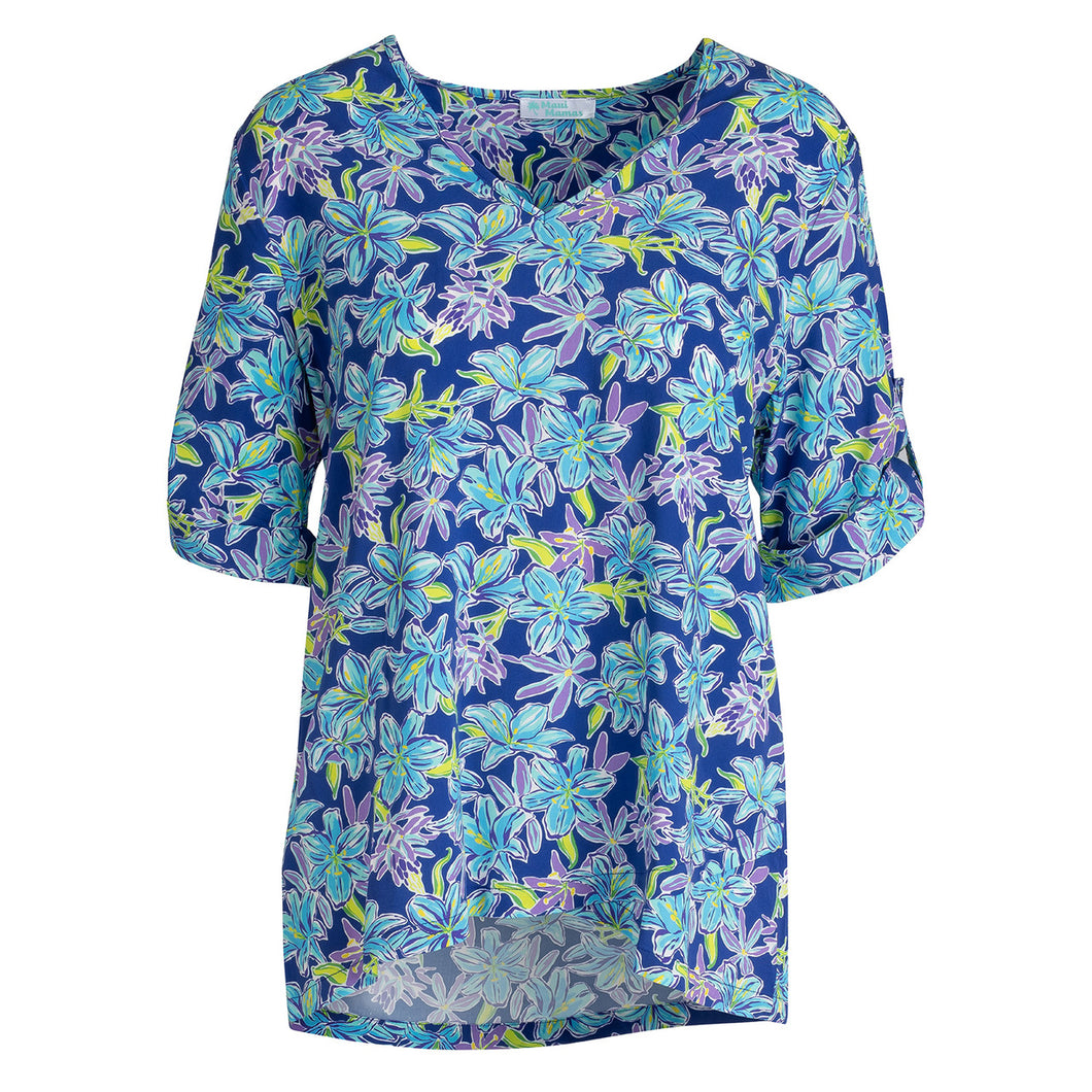 Maui Structured Tunic - Deep Blue Floral