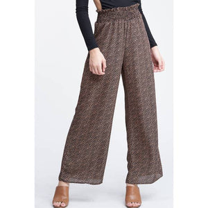 Waist Smocking Relaxed Fit Woven Pants