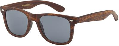 Retro Faux Wood Sunglasses - Light Brown