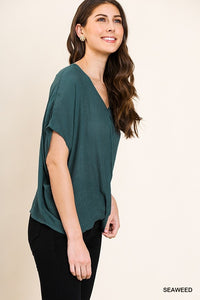 Short Dolman Sleeve V-Neck Top with Gathered Front Detail