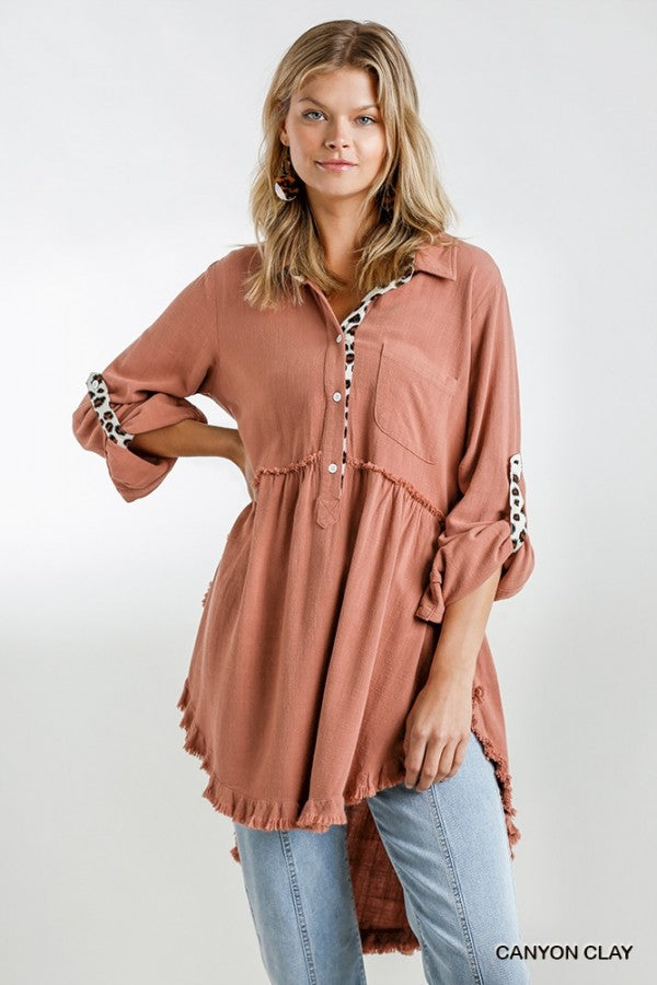 Animal Print Button Front and Tab Tunic Dress with Chest Pocket and Hi-Lo Frayed Fishtail Scoop Hem