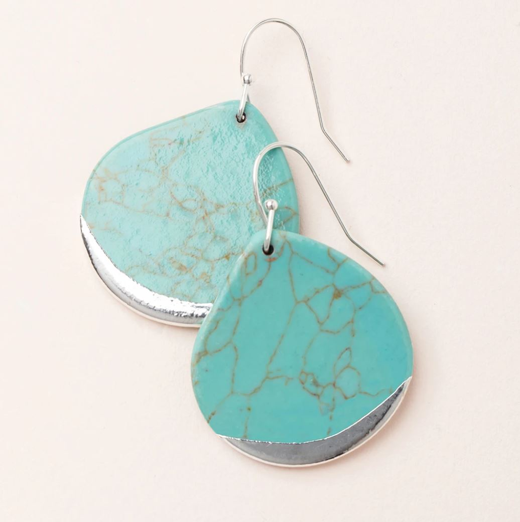 Stone Dipped Teardrop Earring - Turquoise /Gold