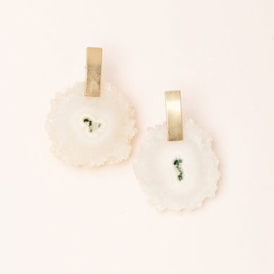 Stone Slice Earring - White Quartz/Gold