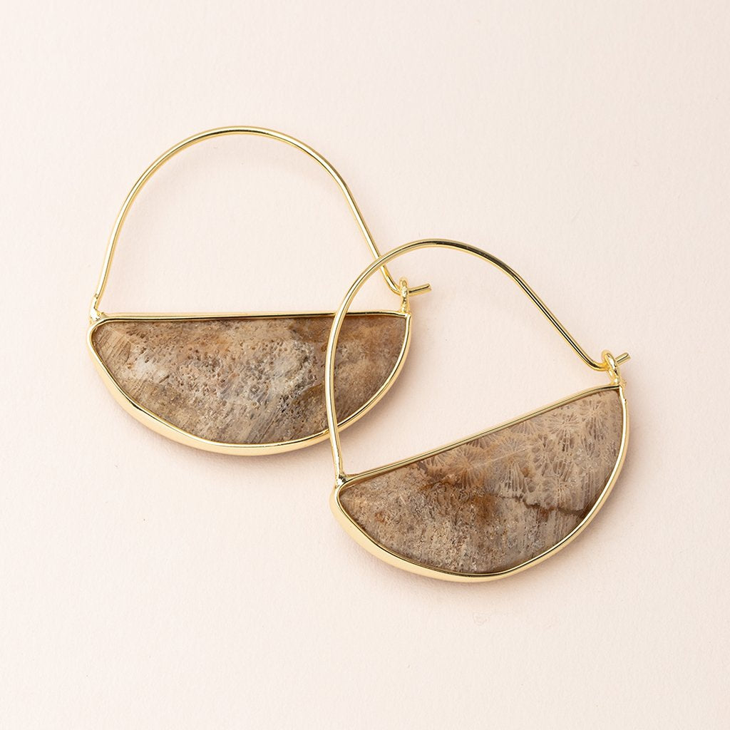 Stone Prism Hoop Earring - Fossil Coral/Gold