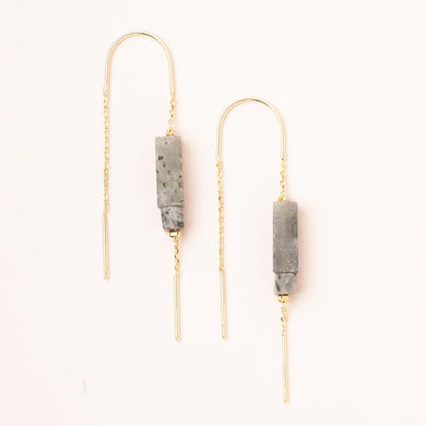 Rectangle Stone Thread Earring - Labradorite/Black/Silver