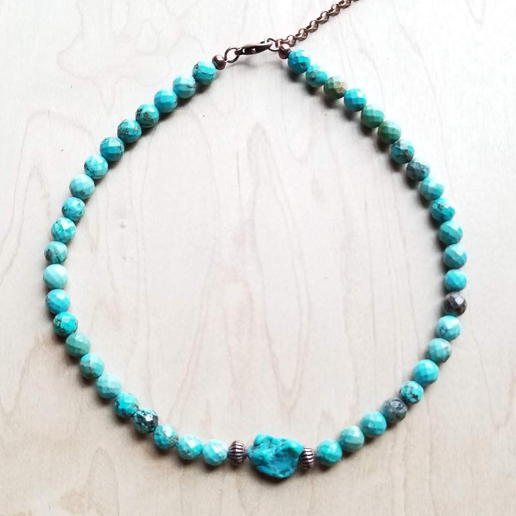 Faceted Natural Blue Turquoise Collar Length Necklace