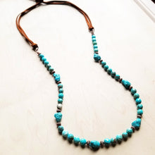Faceted Natural Blue Turquoise Necklace with Leather Ties