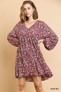 Print Long Puff Sleeve V-Neck Babydoll Dress