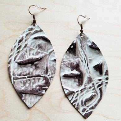 Leather Oval Earrings in Gray Gator
