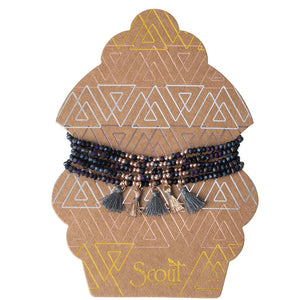 Metallic Tassel Wrap Bracelet/Necklace - Midnight Rose Gold/Rose Gold