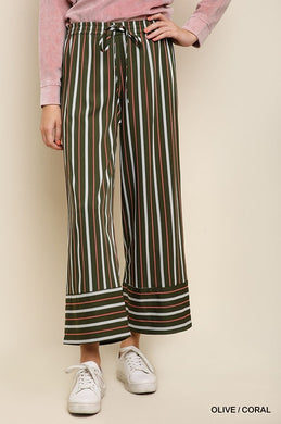 Striped High Waist Wide Leg Trouser Pants with Elastic Waist and Waist Tie