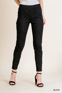 High Waist Skinny Moto Pant with Side Zips and Back Pockets