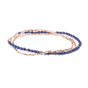 Delicate Stone Bracelet/Necklace - Lapis/Rose Gold