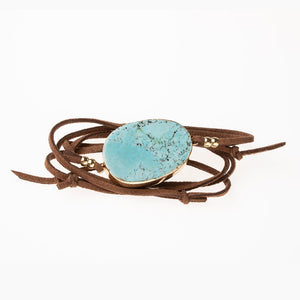 Suede & Stone Wrap Bracelet/Necklace - Turquoise/Gold