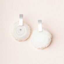 Stone Slice Earring - White Quartz/Silver