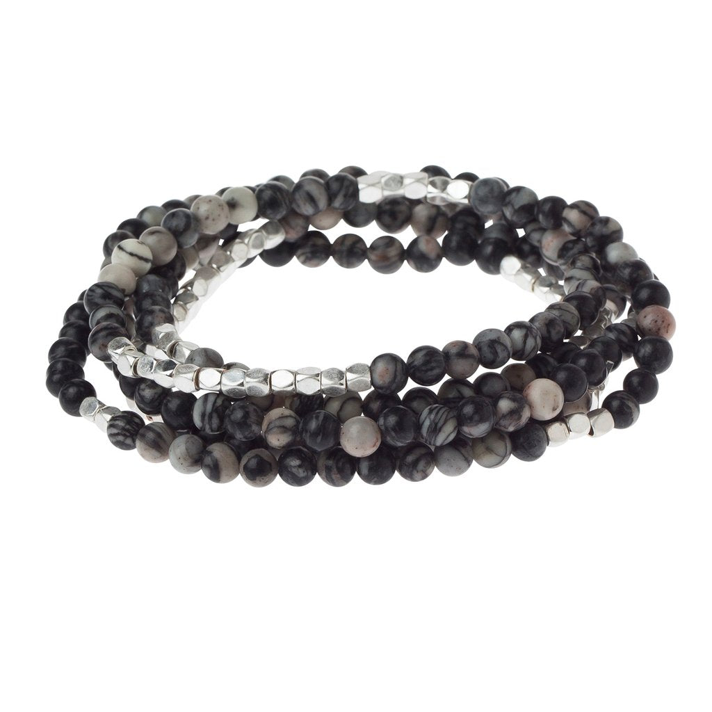 Stone Wrap Bracelet/Necklace - Black Network Agate - Stone of Inner Stability